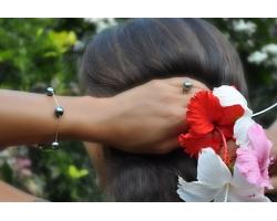 """Bracelet Or et perles de Tahiti """"Cannelle"""""""