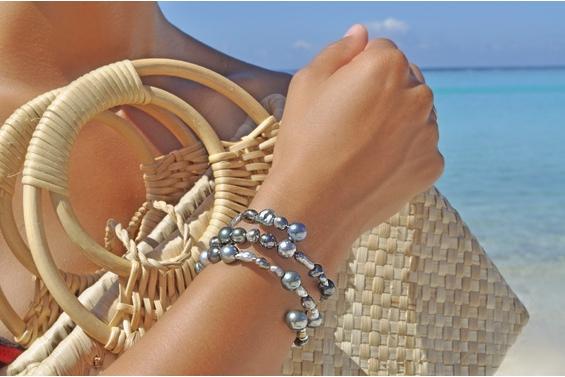 """Mix"" black pearls Bracelet"