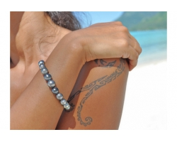 Bracelet de perles de Tahiti cerclées
