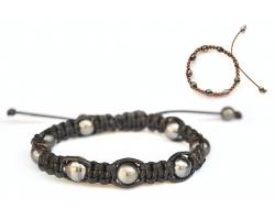 Bracelet Shamballa, 10 perles de Tahiti