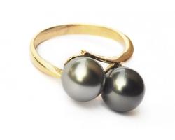 """Bague en or, 2 perles """"Lea"""""""