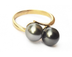 "Bague en or, 2 perles ""Lea"""