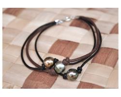 Bracelet 3 perles sur cuir