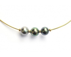 Collier câble or et 3 perles de Tahiti