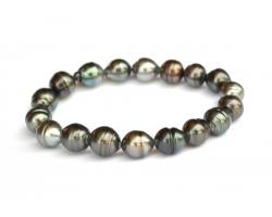 Bracelet perles de Tahiti sur élastique