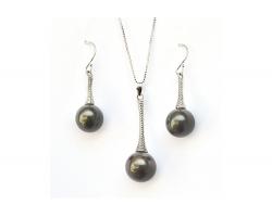 Parure perles de Tahiti boucles + pendentif cône