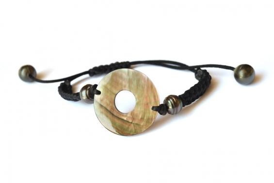"Tahitian pearls and nacre on bracelet ""Nina"""
