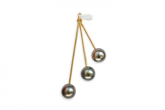 "3 perles de Tahiti sur pendentif or ""Ela"""