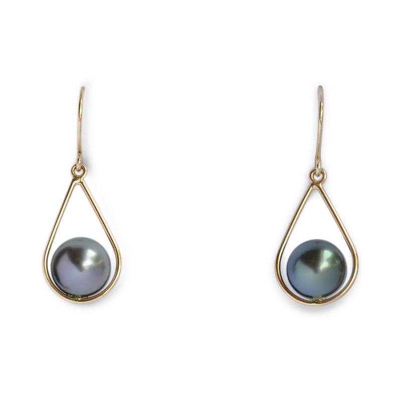 boucle oreille perle tahiti or