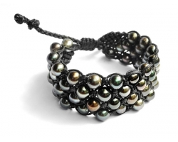 Bracelet with 4 rows of Tahitian pearls