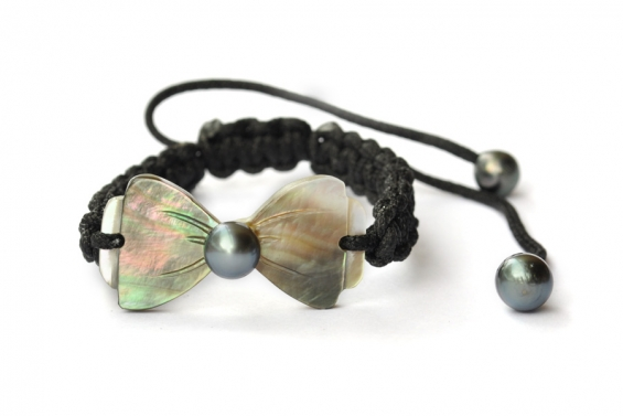 Bracelet Papillon et perle de Tahiti