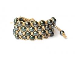 Bracelet perles de Tahiti 4 rangs - beige