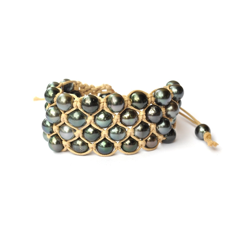 bracelet perles de tahiti 4 rangs beige cicorella designer. Black Bedroom Furniture Sets. Home Design Ideas