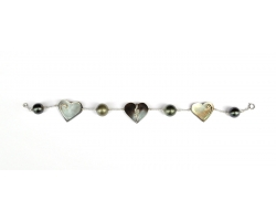 Tahitian pearls with small hearts bracelet