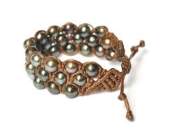 Bracelet perles de Tahiti 3 rangs
