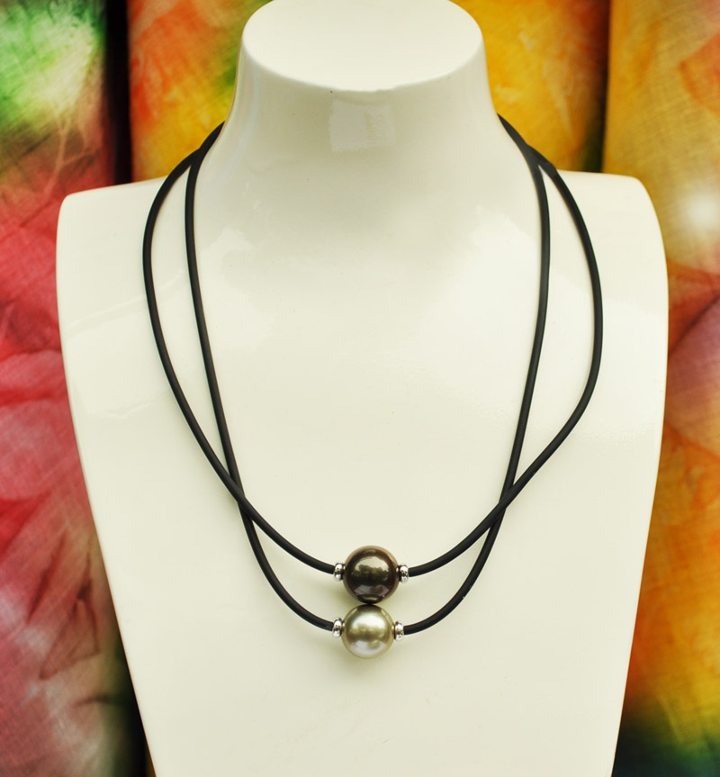 gold or silver  rubber necklace