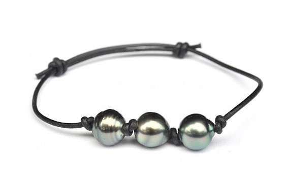 Bracelet cuir 3 perles de Tahiti