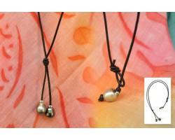 Collier cuir 2 perles de Tahiti