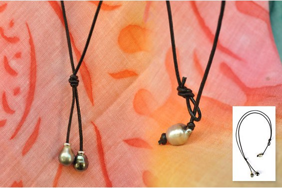 Leather necklace, 2 Tahitian pearls