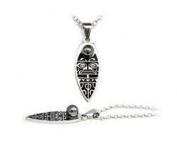 "Pendentif perle de Tahiti ""Black Tiki"""