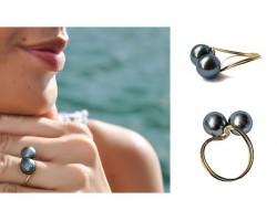 """""""Duo"""" Tahitian pearl Gold ring"""