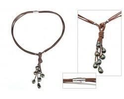 "Collier avec perles de Tahiti sur cuir marron ""Tetia"""