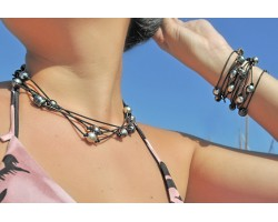 Sautoir de perles de Tahiti sur corde