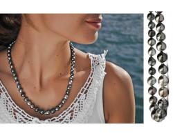 Collier perles de Tahiti cerclées