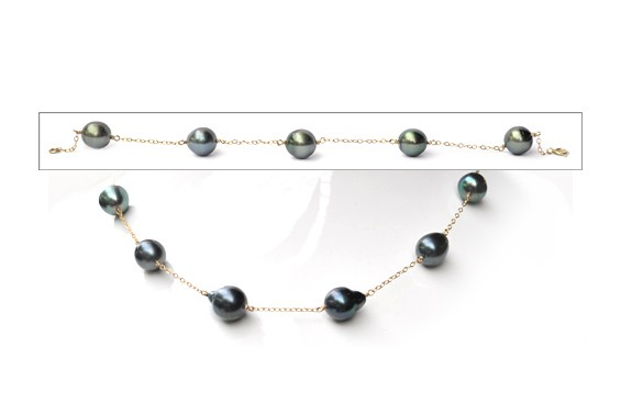 Necklace + bracelet with tahitian pearls